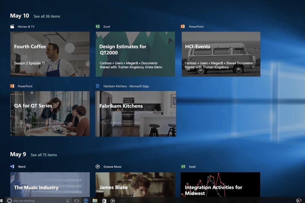 Windows Timeline no Windows 10