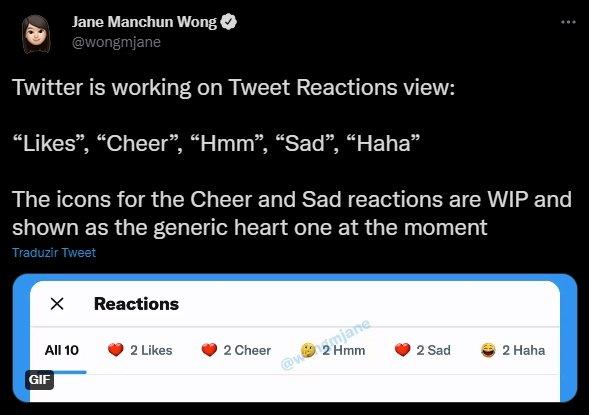twitter com reações