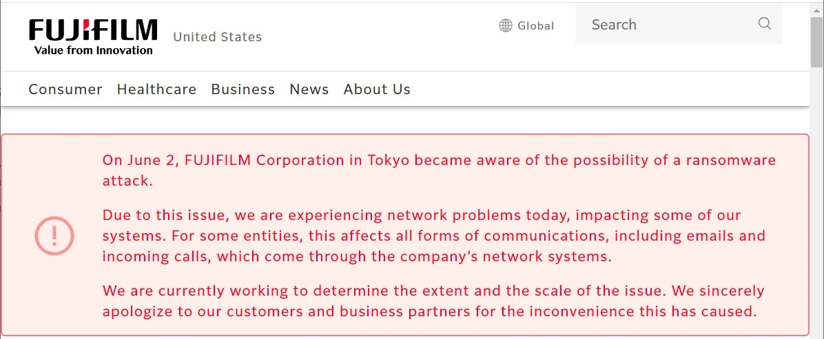 mensagem no site da empresa