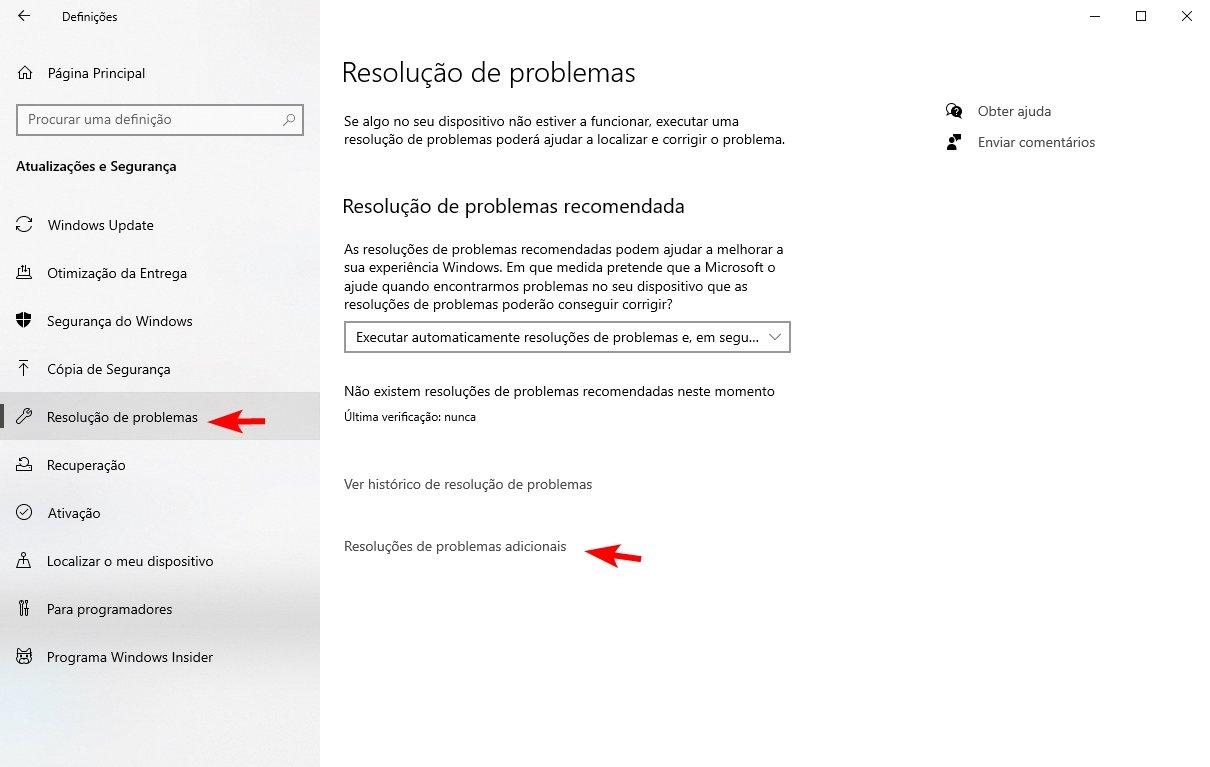 Resolução de problemas windows