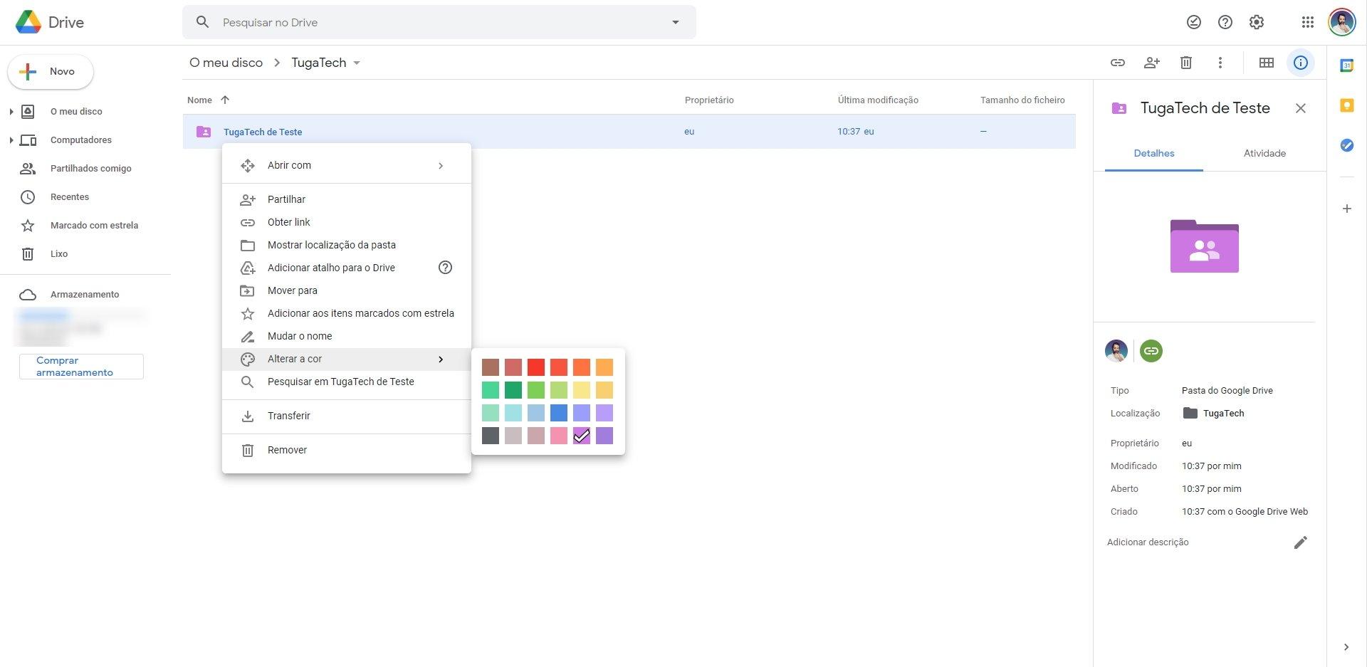 Google Drive cores nas pastas