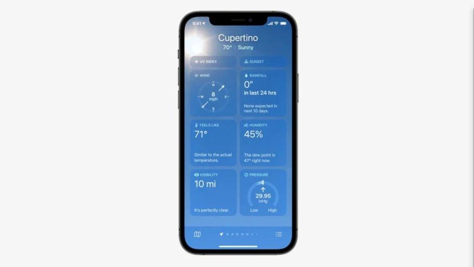 nova interface app de estado do tempo