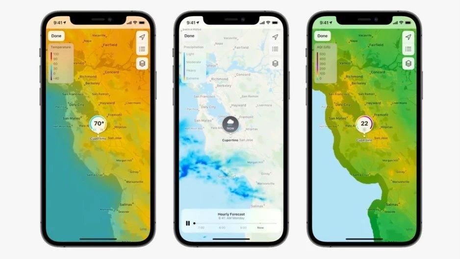 mapa satélite ios apple metereologia
