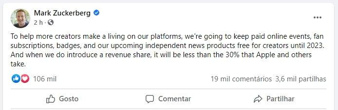 Mark Zuckerberg mensagens