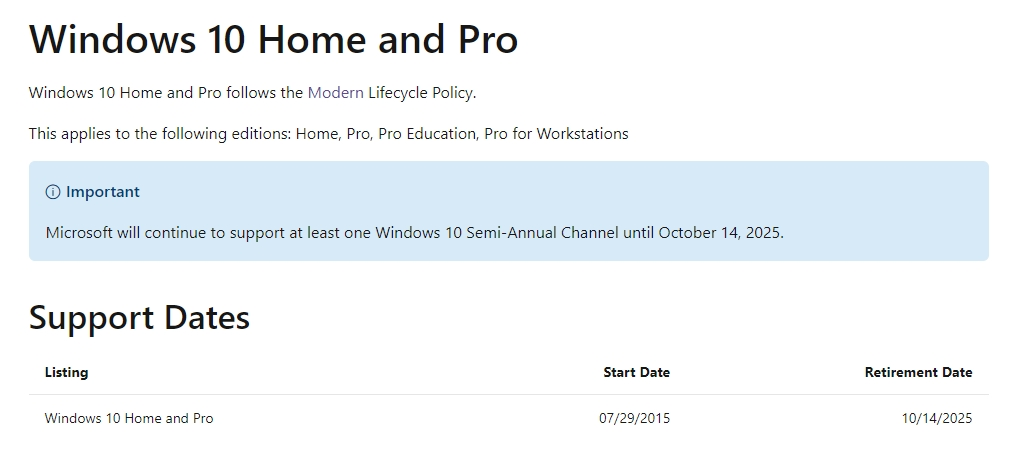 Windows 10 suporte sistema