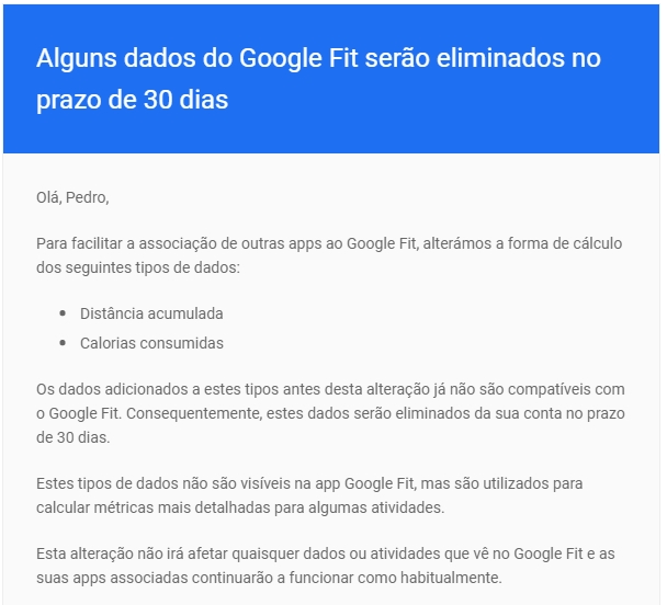 email da google fit sobre mudança de dados