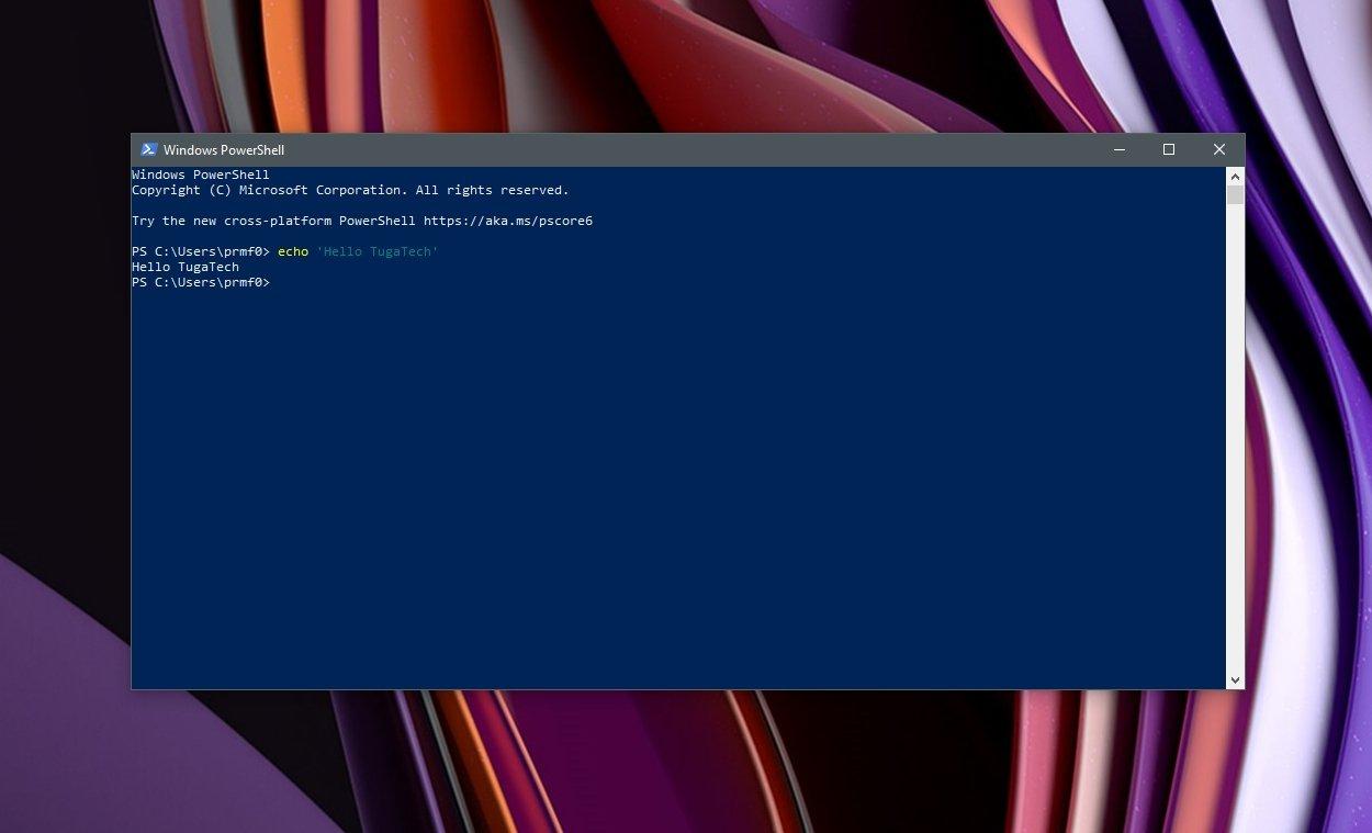 Windows PowerShell linha de comandos aberta