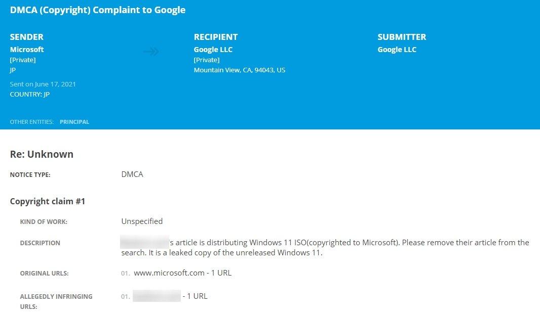 pedido de DMCA da Microsoft