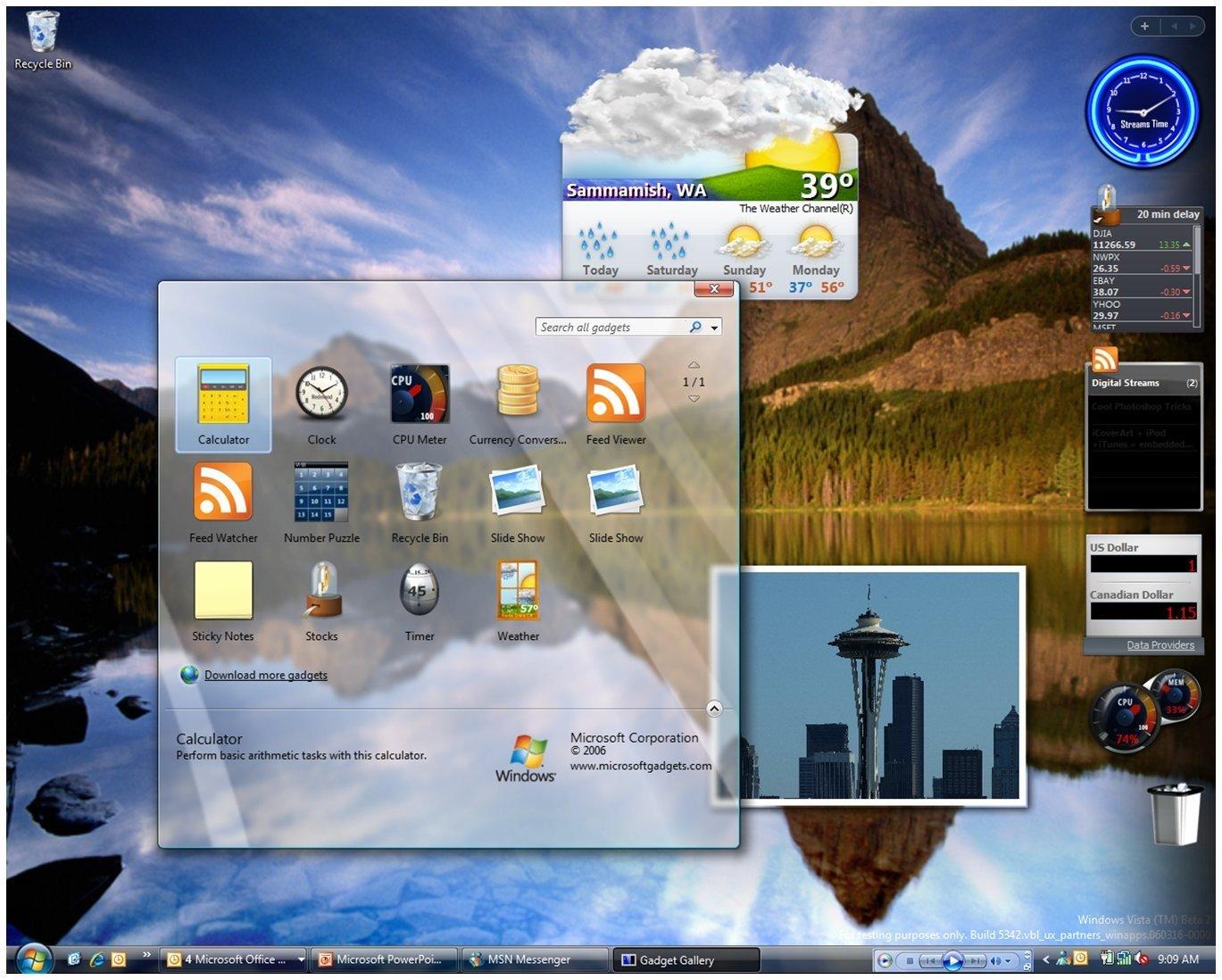 Windows vista widgets no desktop