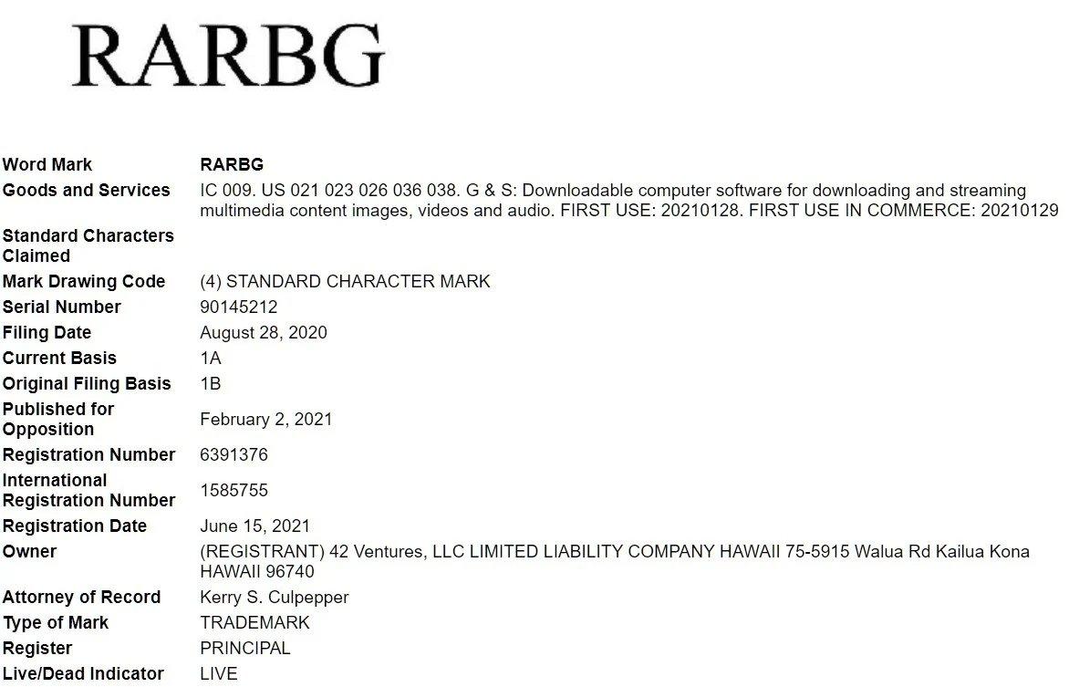 certificado de registo da marca rarbg