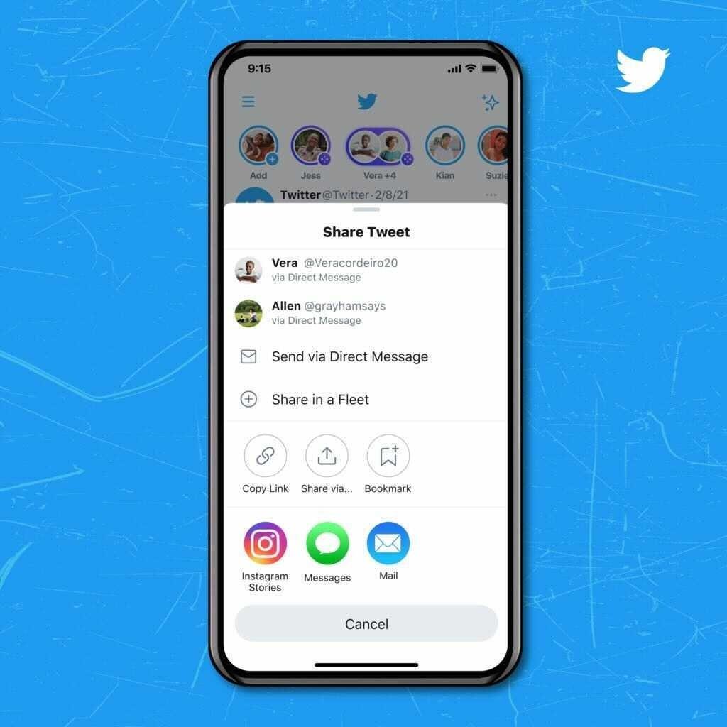 Twitter na partilha para o instagram