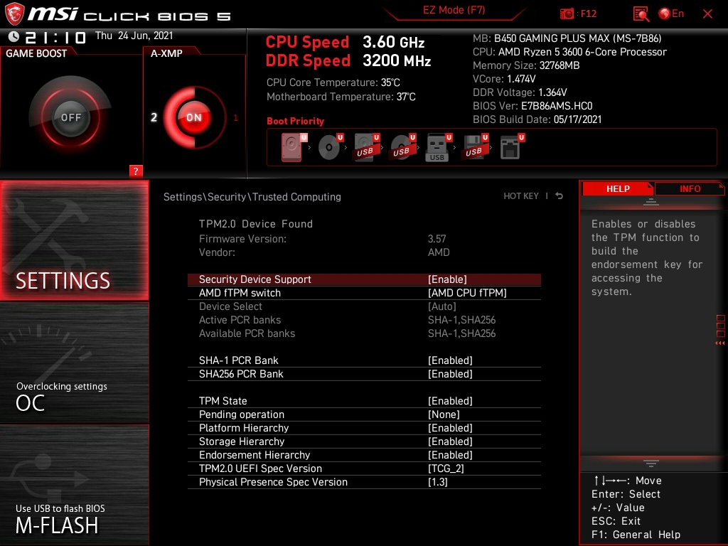 TPM 2.0 ativar na AMD e MSI