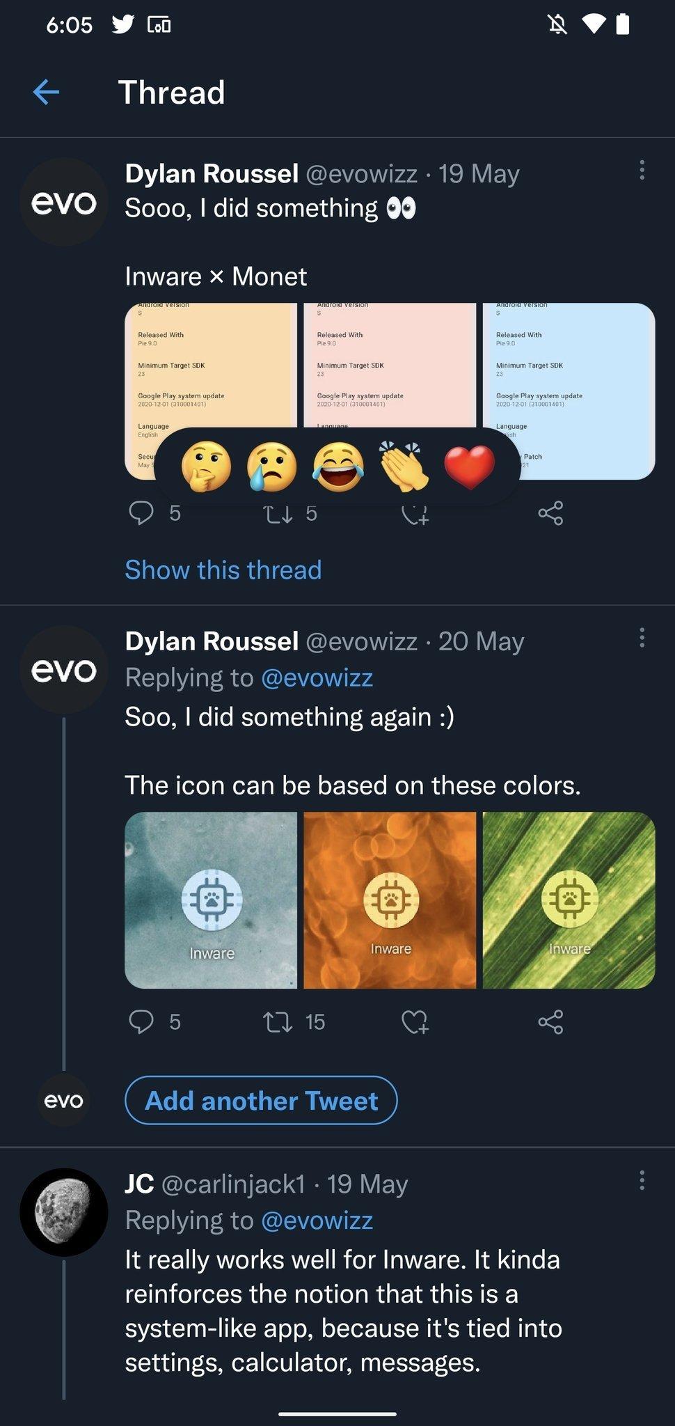 reações do Twitter exemplo