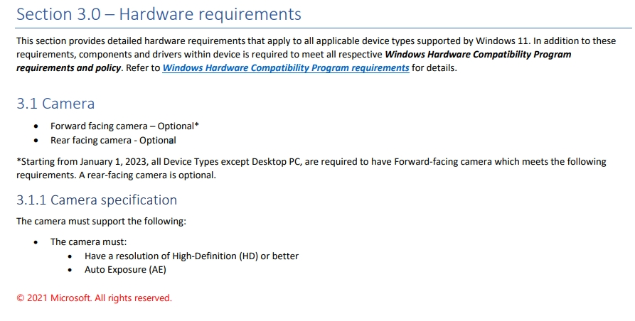 Windows 11 requisitos para fabricantes