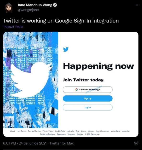 twitter em testes com login da google