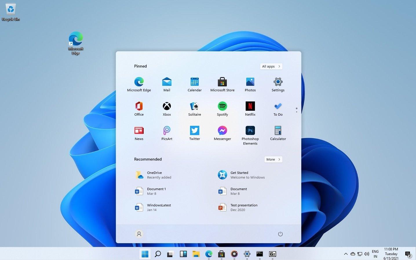 Windows 11 com a barra de ferramentas no fundo