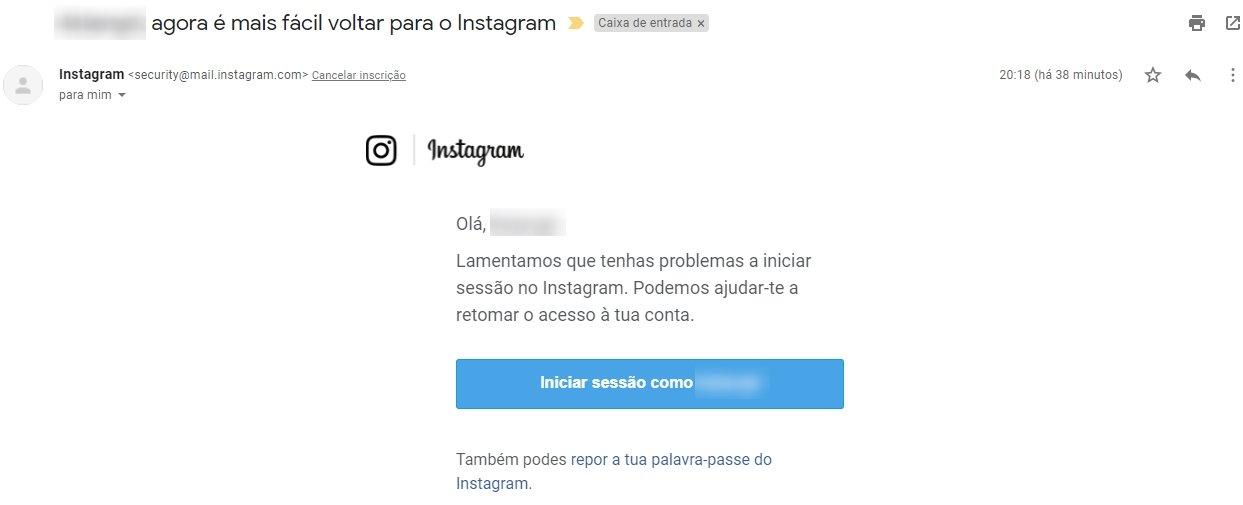 exemplo de email do instagram