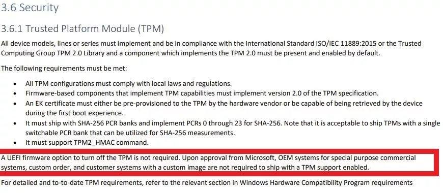 Chips TPM em certos sistemas