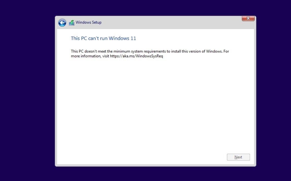 Windows 11 setup erro de requisitos