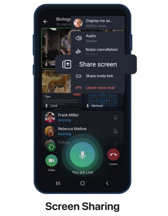 compartir pantalla en telegram