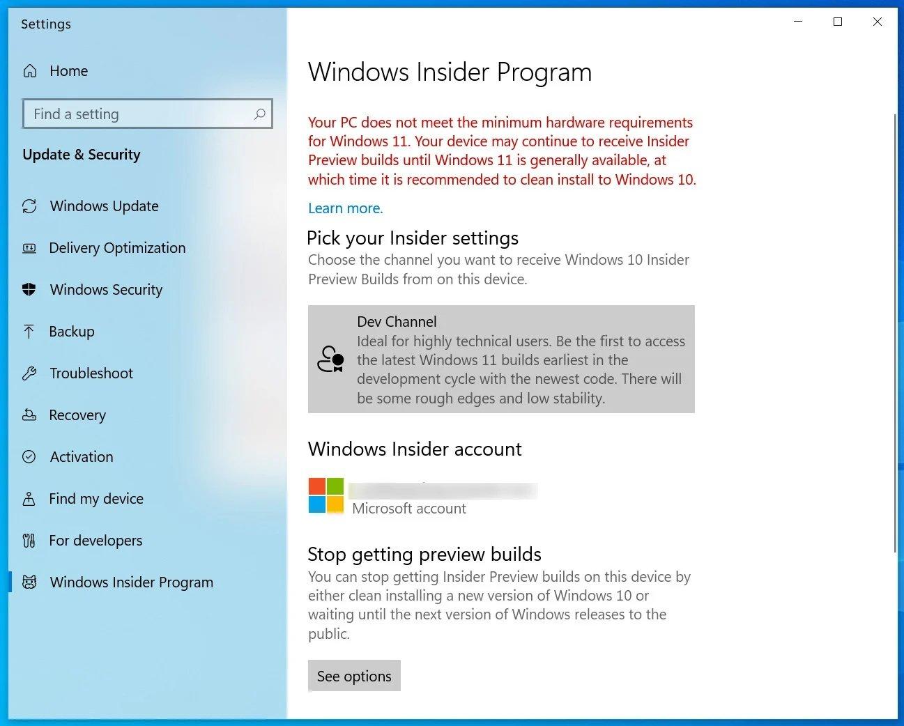 Windows 11 programa insider erro