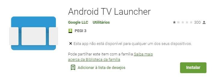 votação na play store sobre o Android tv launcher