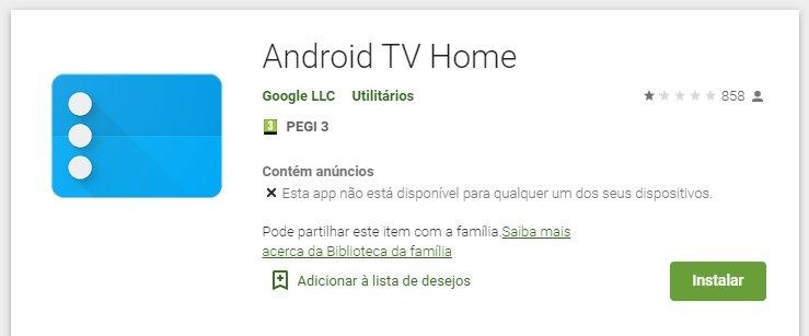 votação na play store sobre app do Android tv