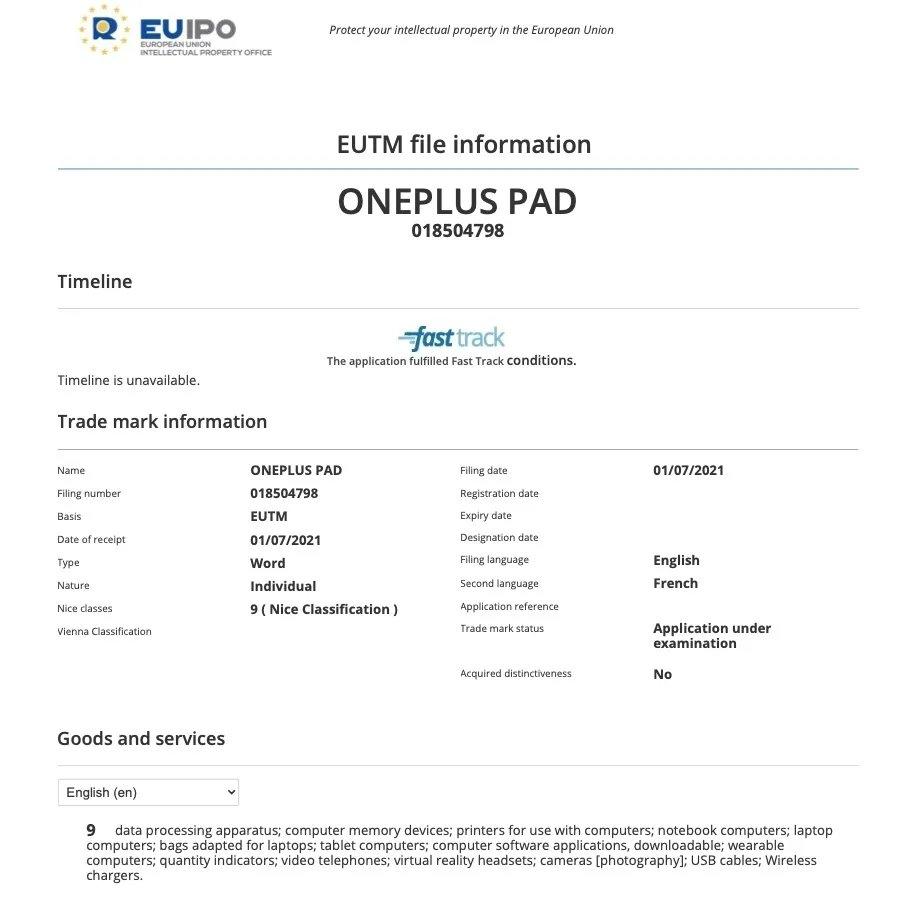 registo de oneplus pad