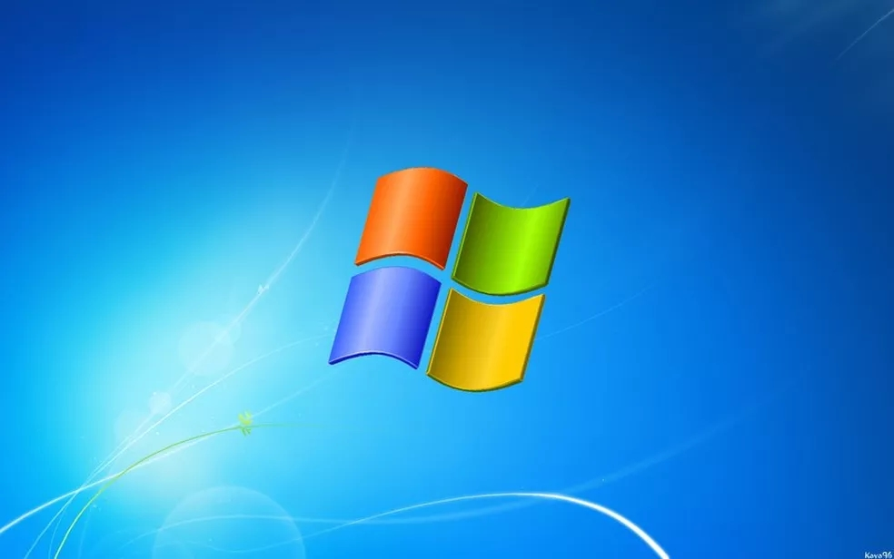 Windows logo sobre wallpaper do seven