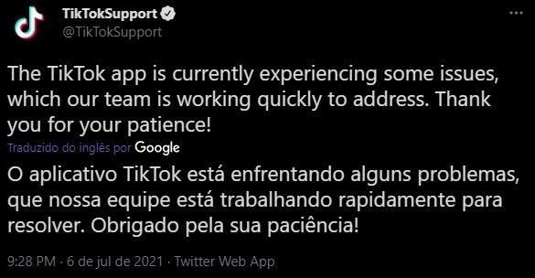 tiktok confirmação da falha