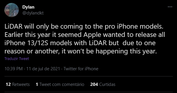 rumores sobre sensor lidar da apple