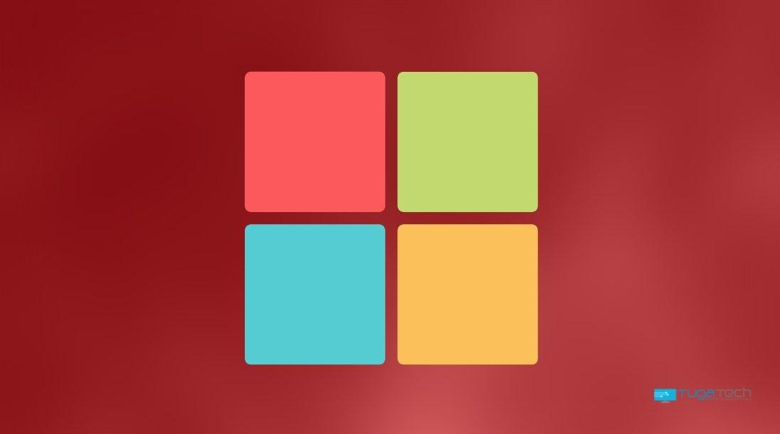 Windows com o logo sobre fundo vermelho