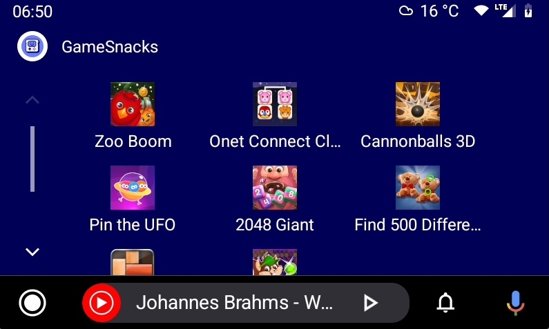 android auto games snacks