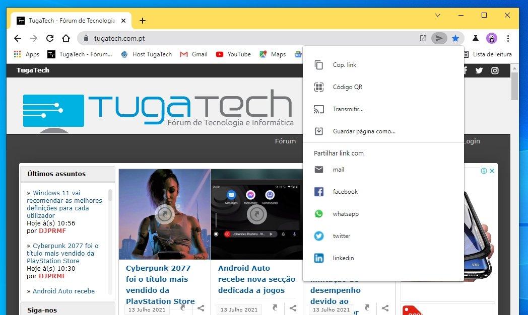 Google Chrome partilha menu
