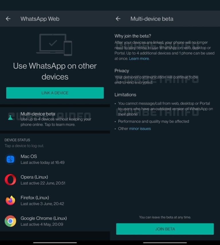 WhatsApp beta múltiplos equipamentos