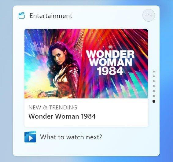 widget de entretenimento do Windows 11