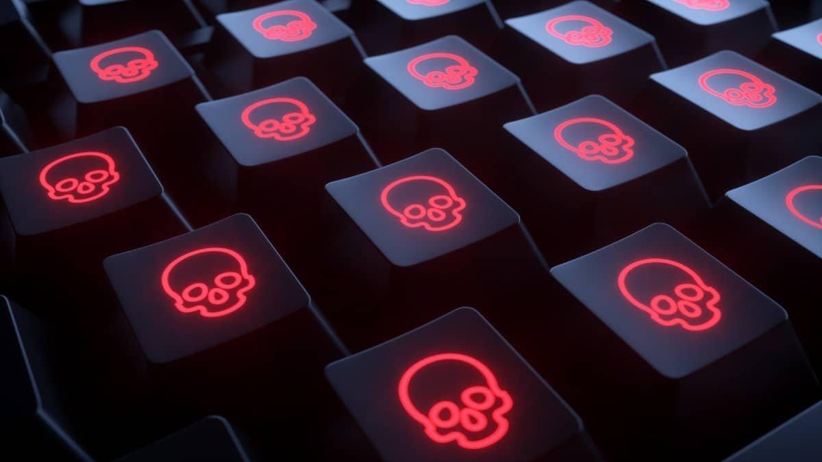 ransomware no teclado de um PC