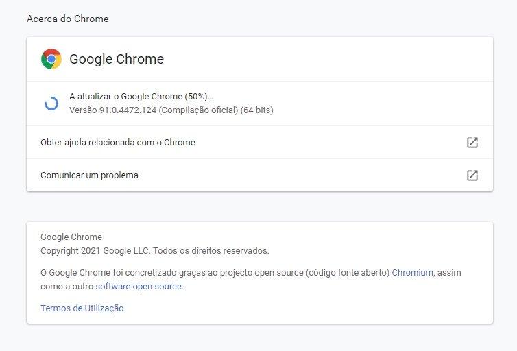 atualização do google chrome