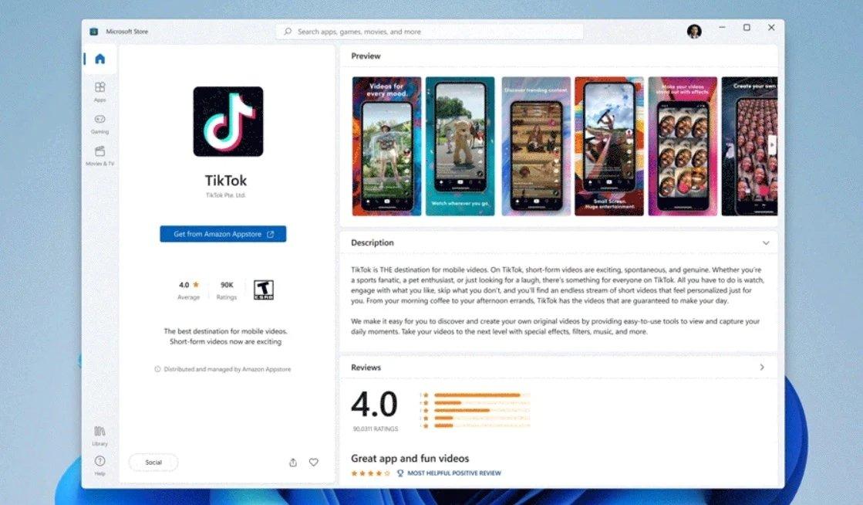 Microsoft Store com app do TikTok no Android