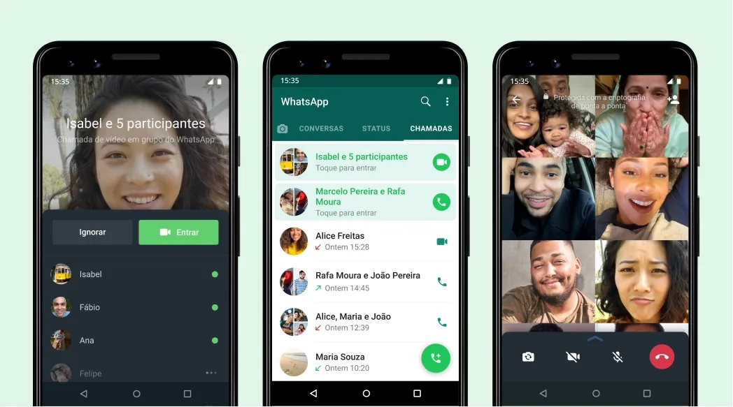 WhatsApp chamadas de grupo