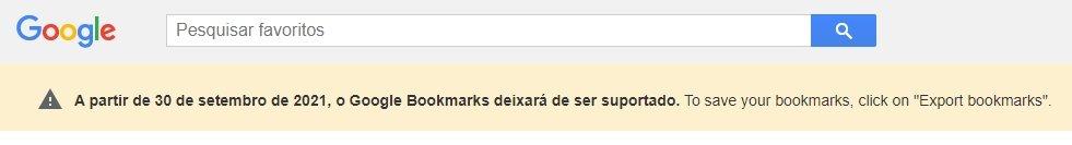 alerta da google sobre encerramento do bookmarks