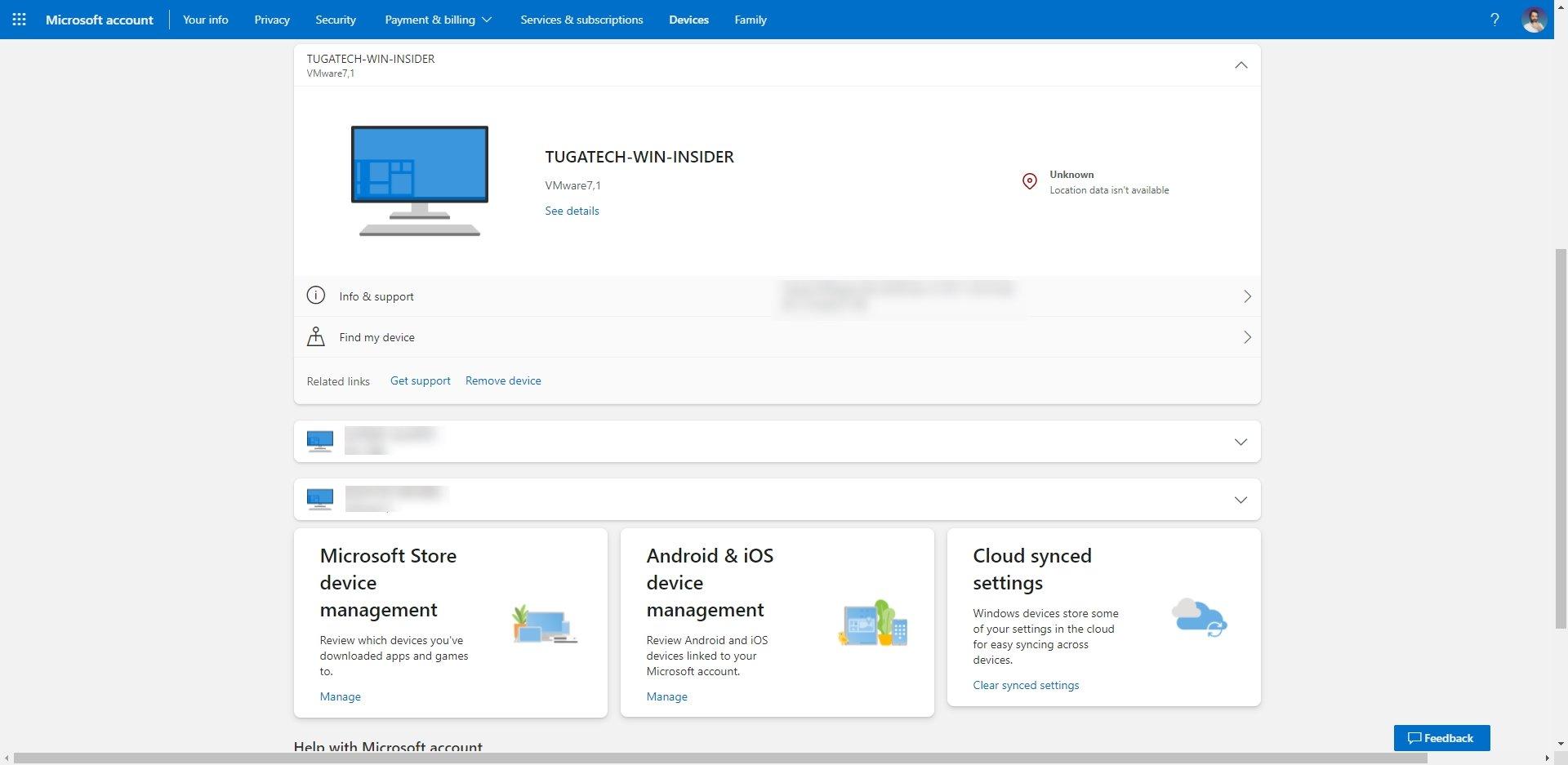 nova secção de dispositivos do site da Microsoft