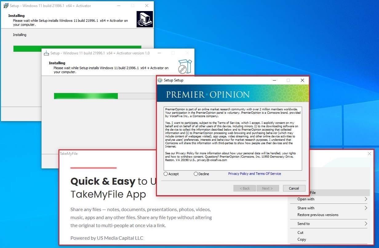 exemplo de malware sobre instalador do Windows 11