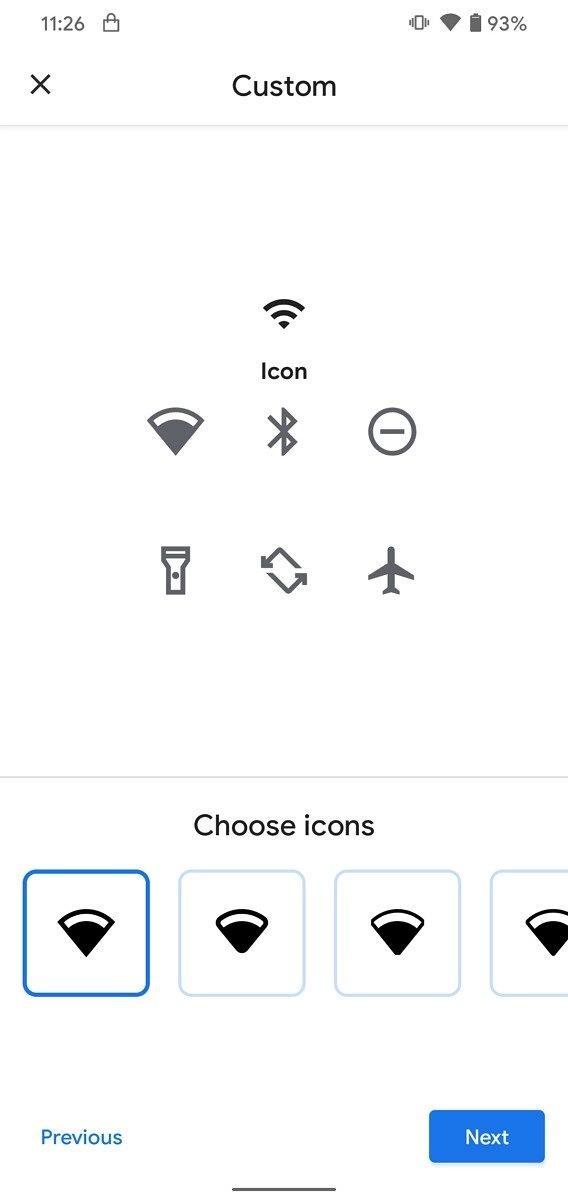 painel de personalização do Android