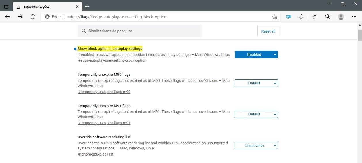 Opção do Microsoft Edge