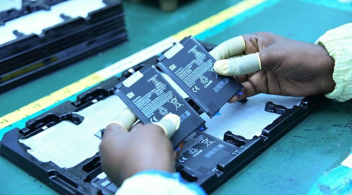 Xiaomi baterias na linha de produção