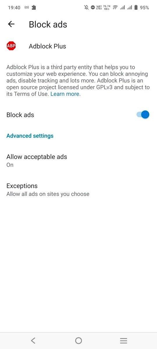 adblock bloquear publicidade no edge para Android