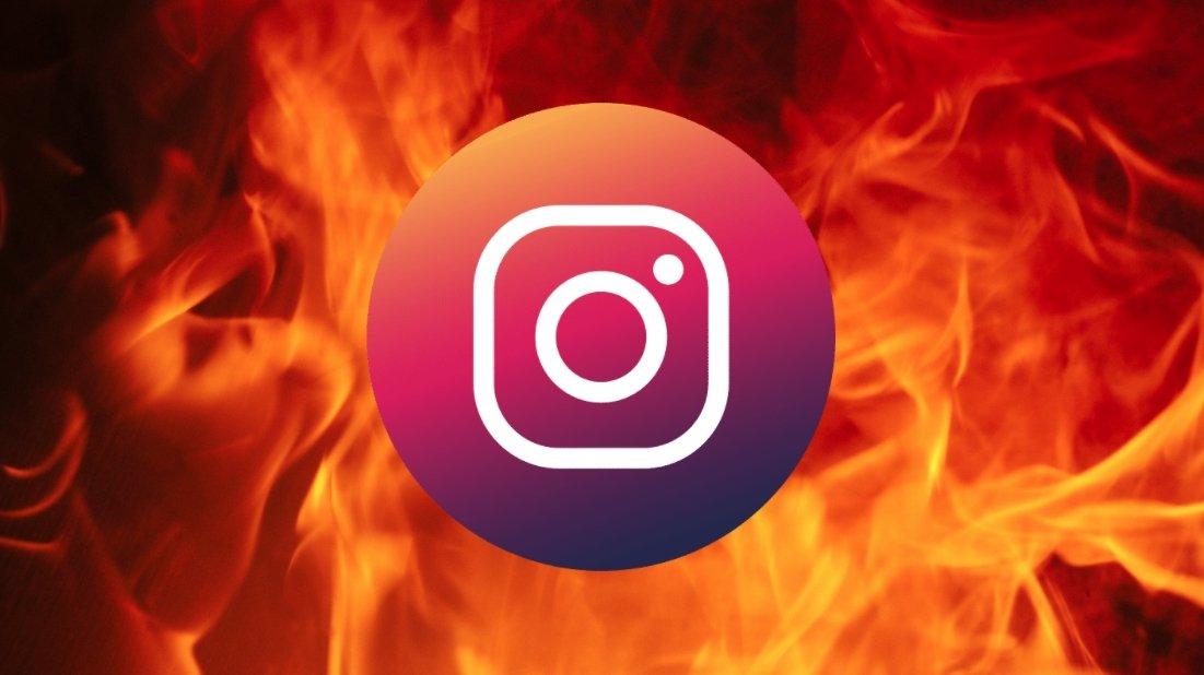 Instagram sobre fogo