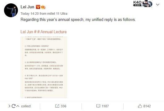 declaração do CEO da Xiaomi