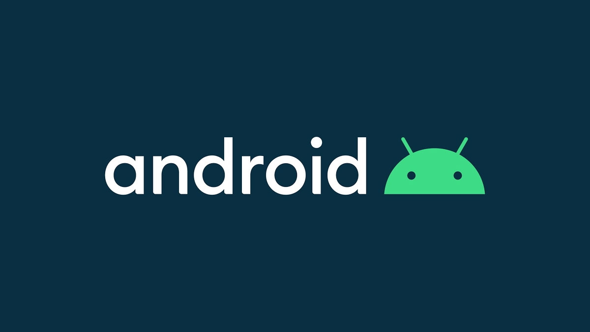 Google Android logo sobre letras e fundo escuro